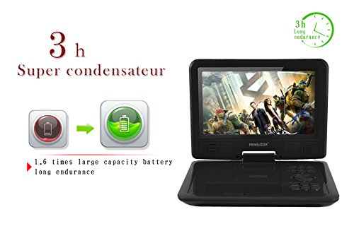 Portable DVD Player  Fengjida 9 Inch Portable DVD Player  Rechargeable Battery player with Swivel Screen  Support USB and Card Slot