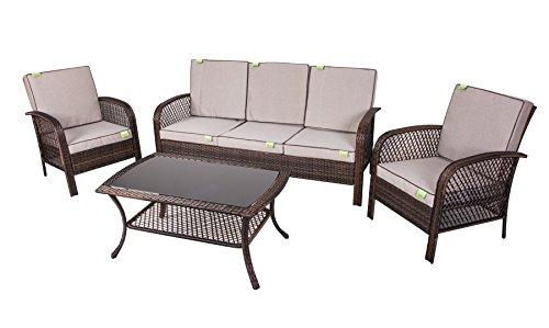 Enrico coveri salotto completo marrone per arredamento giardino, set sofà composto da tavolo rettangolare + 2 poltrone + divano 3 posti in acciaio e polyrattan per arredamento esterno