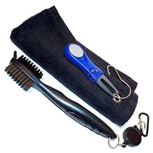 Flaw'd Golf Golf Reinigungsbürste mit Pitchgabel und Bonus Handtuch Bundle Combo-Perfekte Vater 's Day Geschenk, Blue Brush Blue Divot Tool -