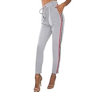 Yogogo Damen 3/4 Gestreift Leggings Hose Hohe Taille Pants | Dünne Hosen | Sport Fitness Workout Leggins | Elastische Dünne Hosen | Sporthose