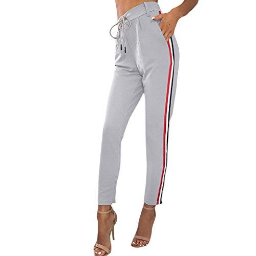 Damen 3/4 Gestreift Leggings Hose , Yogogo Hohe Taille Pants | Dünne Hosen | Sport Fitness Workout Leggins | Elastische Dünne Hosen | Sporthose (M, Grau)
