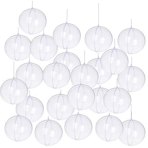 Yeelan Pack de 24 Piezas de plástico Transparente acrílico rellenable Transparente Bola Adorno chuchería Esfera para el Banquete de Boda de Navidad decoración para el hogar, 60 mm