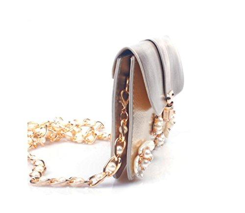 GSHGA Borse Da Donna Diamond Bearded Fiori Incrociate Pacchetto Retro Borsa A Tracolla,Pink Gold