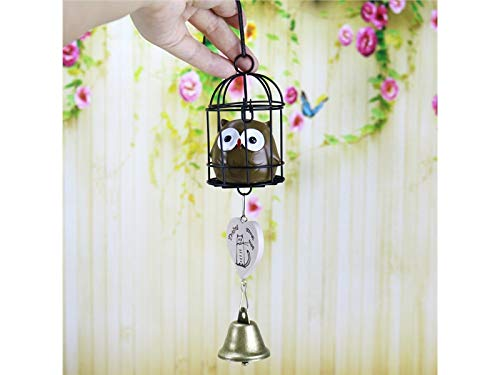 Zabrinay Hängend Harz Eisen Käfig Eule Bell Wind Chime Dream Catcher für Home Schlafzimmer Dekor, Auto, Wandbehang Ornament Dekoration