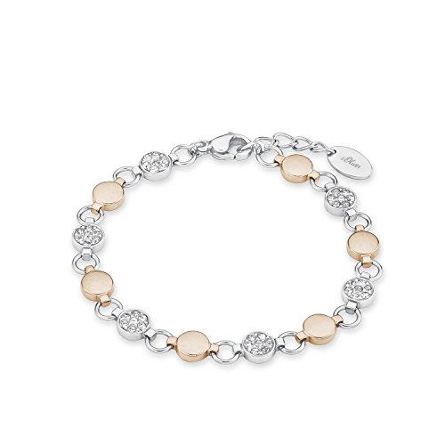 S.Oliver Damen Armband Edelstahl Bicolor IP Rosegold Swarovski Kristalle 18+2 cm weiß