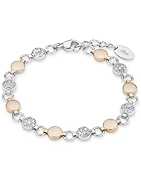 s.Oliver Damen-Armband 18+2 cm verstellbar Edelstahl Bicolor IP Rose Swarovski Kristalle weiß