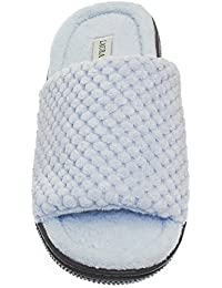 a76732e00d99 Laura Ashley Womens Ladies Luxury Spa Rugged Memory Foam Open Toe Slippers  (See More Colors