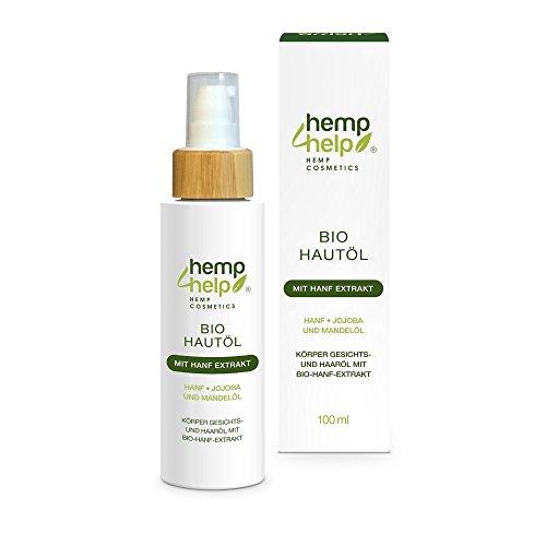Hemp Cosmetic 4 Help Huile pour le corps aux huiles de jojoba, d'amande et à l'extrait de chanvre 100 ml Soin 3-en-1 pour le corps, le visage et les cheveux, adapté pour les peaux sensibles et sèches