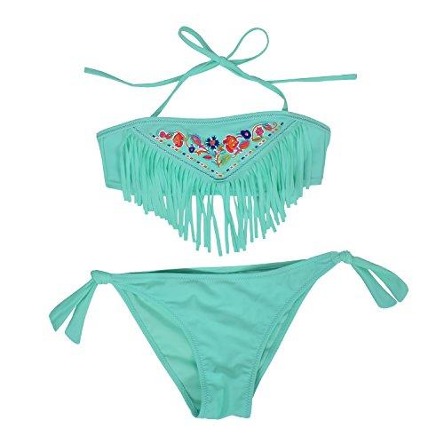 Kleinkinder Baby Mädchen Quaste Badekleidung Schwimmanzug Bikini Sets 2-15 Jahre (152, Blau)