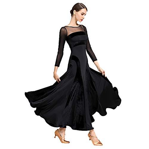 JRYYUE Damen Ballsaal Tanz Praxis Kleider Walzer Moderne Social Tanz Outfit Tango Flamenco Performance Rock,Black,S Flamenco-outfits