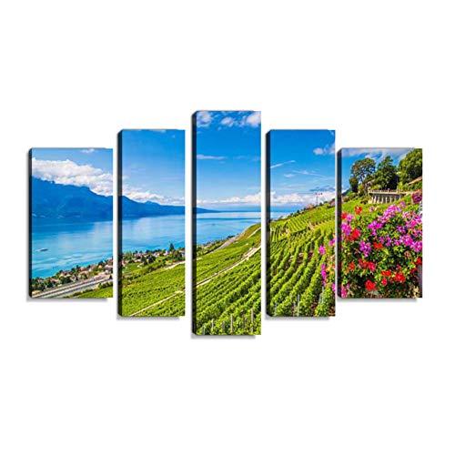 Inbel Kunst Region Lavaux Wein auf den Genfer See, Schweiz Wandbilder abstrakt Leinwandbild Digitalkunstdruck leinwanddrucke Eigenes Design Gemälde Wanddekoration mit Holzrahmen 5-teilig