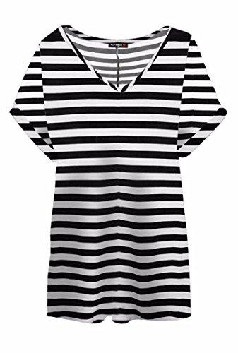 FK Styles da donna, collo con V Baggy oversize t-shirt top Stripe Horizontal