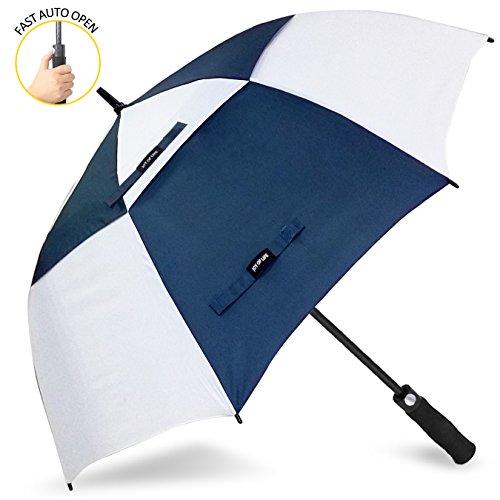 ZOMAKE Ouverture automatique Parapluie de golf 172,7 cm très Extra Large double auvent ventilé coupe-vent imperméable bâton parapluies (Bleu et blanc)