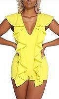 Lucky again-uk Womens Sexy Sleevess Ruffle V-neck Bodycon Shorts Bodysuit XS Yellow