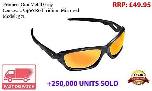 Rayzor professionali leggeri Gunmetal Grigio UV400 Sport Wrap occhiali da sole in Running con una lente rossa Iridium specchio.