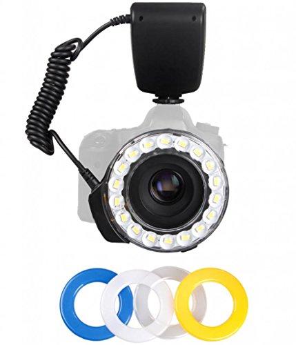 Polaroid 18 Superheller Macro SMD LED Ringblitz & Licht mit 4 Diffusoren (klar, warm, blau, weiss) für Canon, Nikon, Panasonic, Olympus, Pentax SLR Cameras (passend für 49,52,55,58,62,67,72,77 mm Objektive)