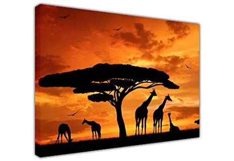 BEAUTIFUL AFRICAN GIRAFFE FAMILY AND TREE UNDER SUNSET SILHOUETTE CANVAS