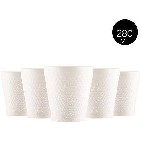 Tazza Nizza Set in acciaio inox tazza di ceramica tazza creativa della tazza semplice tazza di caffè Coppa resistenza alle cadute ( colore : Bianca )
