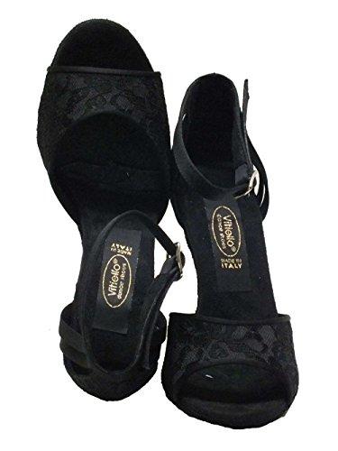 Cetim Sapatos Flor Preto De Schwarz Vitiello Macramé Tanzschuhe 411 Preta Dança Damen qIYdIwX