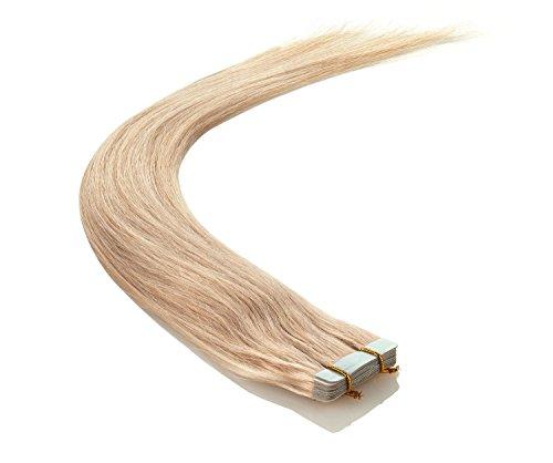 Echthaar Tape On Extensions Haarverlängerung 50cm 10 Tressen (660 - platin)