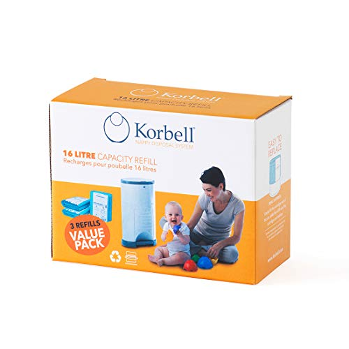 Korbell KR250DR1B - Bolsas de recambio para papelera de pañales, tamaño normal (3 packs)