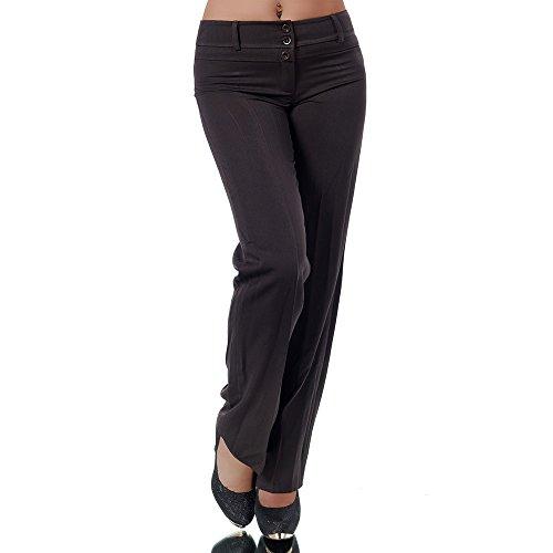 Diva-Jeans H595 Damen Business Stoffhose Elegante Bootcut Hose Classic Schlaghose Schlag, Farben:Braun, Größen:42 XL (Etikett T5)