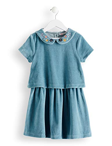 RED WAGON Mädchen Velvet EMB Collar Dress Kleid, Blau (Eggshell Blue), 128 (Herstellergröße: 8) (Velvet Kleid)