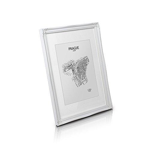 Antik Bilderrahmen 30x40 - Shabby Chic mit Passepartout für 25x30 Fotos - Plexiglas - 2,5 cm Rahmenbreite - Rokoko Barock Stil - Antik Weiß