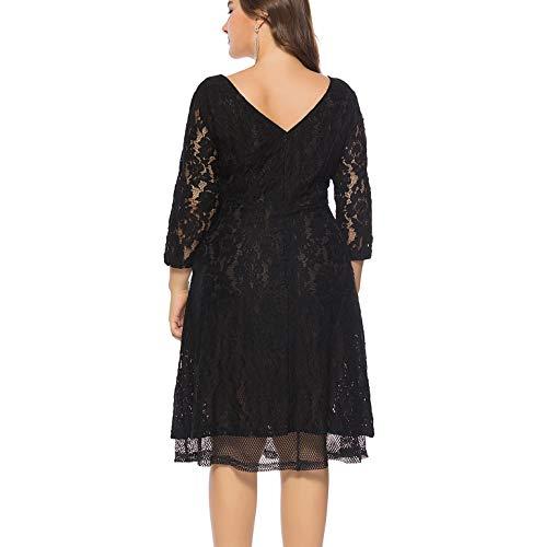 KILOLONE Damen Übergröße Abendkleid Spitze Chiffon mit 3/7 Ärmel Elegant Ballkleid