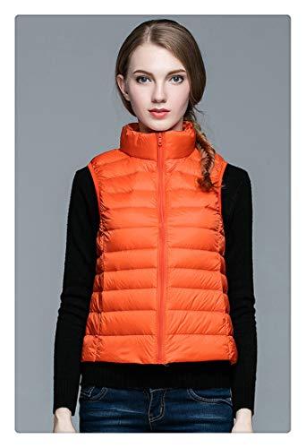 HOT!Winter Women 90% White Duck Down Vest Women's Ultra Light Duck Down Vest Jacket Autumn Winter Sleeveless Coat Orange L (Rain Coat Rack)