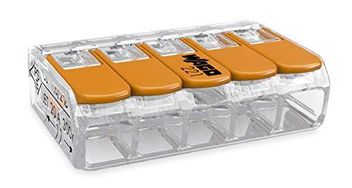 Wago collegamento morsetto 5conduttori Compact con leva di comando, 0,14-4mmq, arancione, 221-415, confezione da 25 pezzi