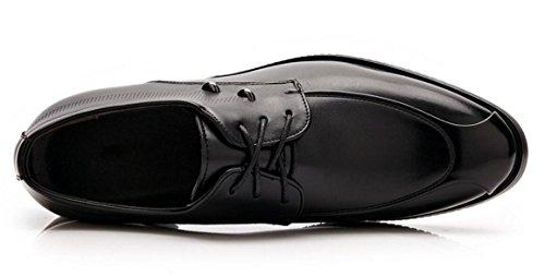 ZCH Pattini di cuoio casuali di affari degli uomini hanno puntato i pattini del merletto i pattini di cerimonia nuziale dei pattini degli uomini black