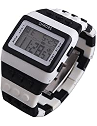 Reloj de pulsera de multifuncion de color - SHHORS Reloj de pulsera de nino LED impermeable de multifuncion de arco iris Reloj de deportes de natacion Reloj de pulsera digital (Estilo 11)