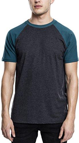 Urban Classics TB639 Herren T-Shirt Raglan Contrast Tee, Mehrfarbig (Charcoal/Teal 1154), Medium (Tee Contrast Raglan)