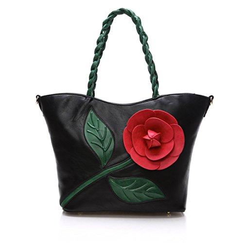 2017 Mode-Trend Hit Farbe Dreidimensionale Blume Handtasche Schulter Messenger Bag Frau Tasche Handtasche Black