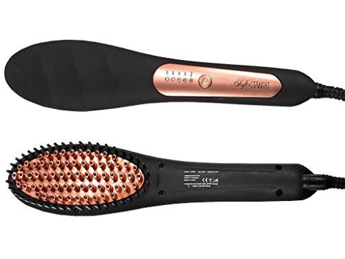 Glättbürste zum Haare Glätten | Keramik-Glättungsbürste | Keramikbeschichtete 3D-Borsten | Glätteisen Alternative | Haarglätter Bürste
