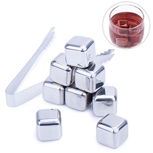 Cubos de Hielo,Diealles 8PCS Whisky Ice Cubes de Acero Inoxidable Reutilizable Cubitos...