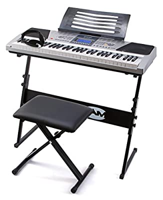 RockJam RJ661 61 Key Electronic Interactive Teaching Piano Keyboard with Stand, Stool and Headphones