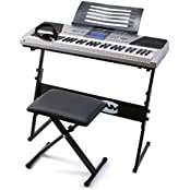 RockJam RJ661 61 Key Electronic Interactive Teaching Piano Keyboard with Stand, Stool and Headphones (Musical Instruments & DJ)