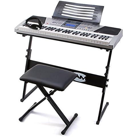 RockJam RJ661 Piano Digitale 61 Tasti Superkit con Supporto, Sgabello e Cuffie