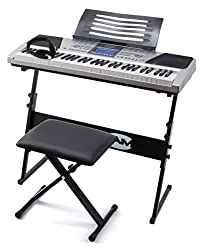 RockJam RJ661-SK Super Kit 61 Tasten LCD Elektronisches Unterrichts-Keyboard mit Ständer, Hocker und Kopfhörer