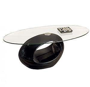 Table basse ovale NIGRA en verre et piétement noir