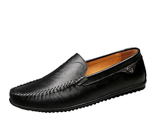 Sk studio mocassini da uomo pelle piatte loafers eleganti comfort scarpe da barca slip on nero casuale scarpe di guida nero