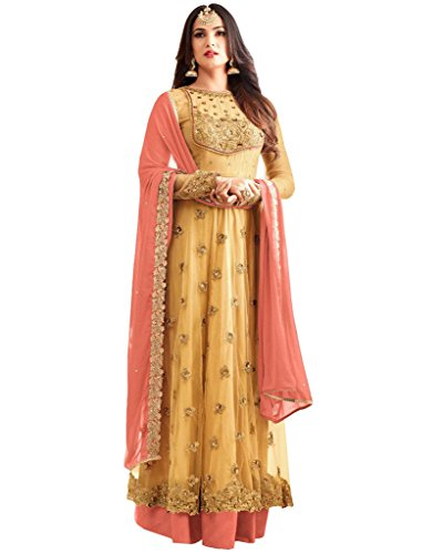 SareeShop Women's Gown Latest Party Wear Design Georgette silk Embroidery Semi Stitched...