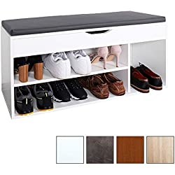 RICOO Meuble de Rangement pour Chaussure WM034-W-A Banc Armoire avec siège Coussin Pouf pour l'entrée Commode à Bottes Banquette Range-Chaussures Couloir Cuisine Bois en Blanc et Anthracite