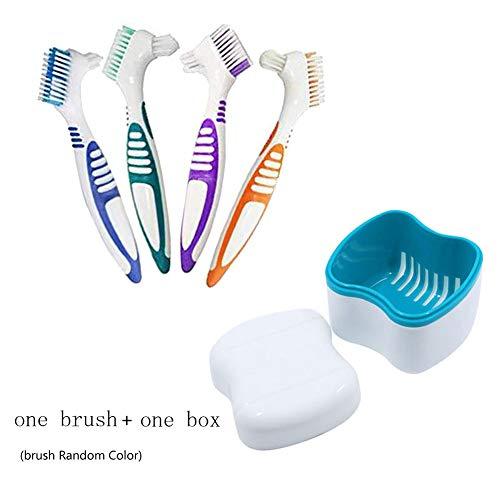 Outtybrave Zahnbürstenkoffer Zahnbürsten-Set Behälter, Becher, Zahnbürste, Zahnbürste, Zahnbürste, Box zum Einweichen falscher Zähne