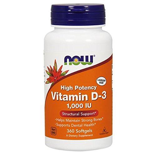 Now Foods | High Potency Vitamin D3 | 1000 IE | 360 Weichkapseln | hochdosiert | ohne Gentechnik | Glutenfrei | Sojafrei