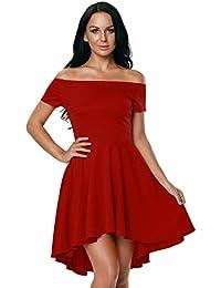 7b18eb164f526 abito cerimonia da donna mini abito vestito damigella elegante festa scollo  barchetta