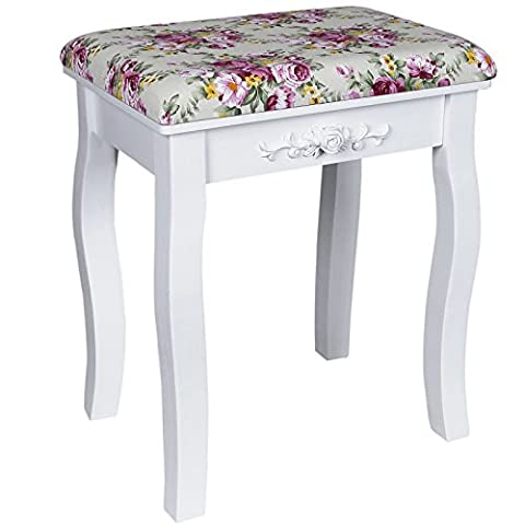 Songmics White Dressing Table Stool with rose cushion padded for piano chair RDS50H