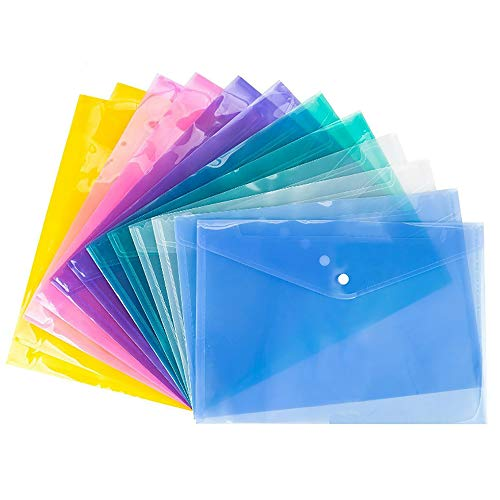 VANRA - Cartellina portadocumenti in poliestere trasparente, con chiusura a bottone, formato A4 Pack of 12 6 colori assortiti.